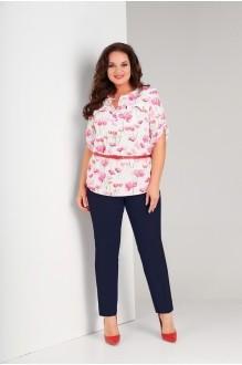 Костюм, комплект Милора Стиль 389 цветочный принт+синие брюки фото 1