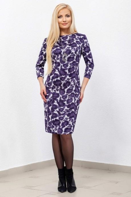 Платье Azzara 435  на светло-сером фоне фиолетовые цветы