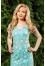 411/1 нежно-золотое кружевное платье с бирюзовой подложкой. №163725