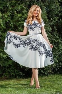 Azzara 410Б светло-молочное платье с синим принтом
