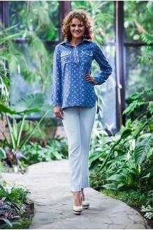 Euro-moda 203 светло-серый+синий джинс