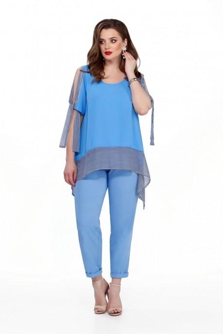 Костюм, комплект TEZA 198 голубая блуза/голубые брюки