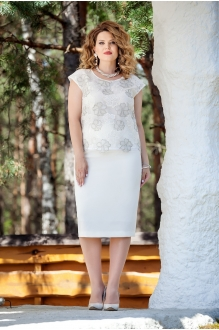 TEZA 225 белая блуза/белая юбка