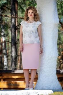 TEZA 225 белая блуза/юбка пудра