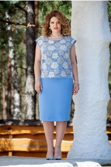 TEZA 225 голубая блуза/голубая юбка