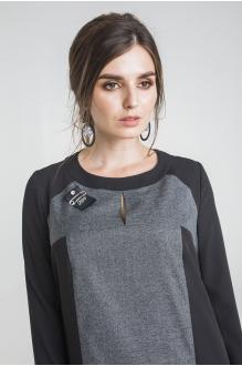 Платье Elletto 1715 серо-чёрный фото 3