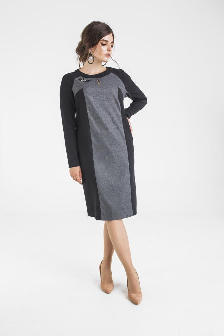 Платье Elletto 1715 серо-чёрный