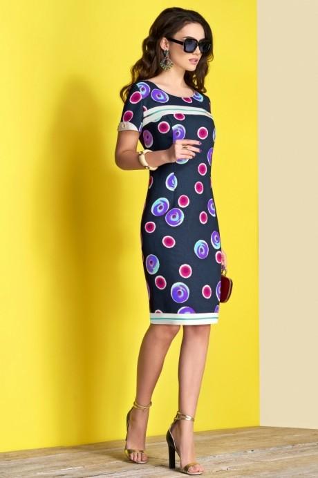 Платье Lissana 3375 синий+фуксия