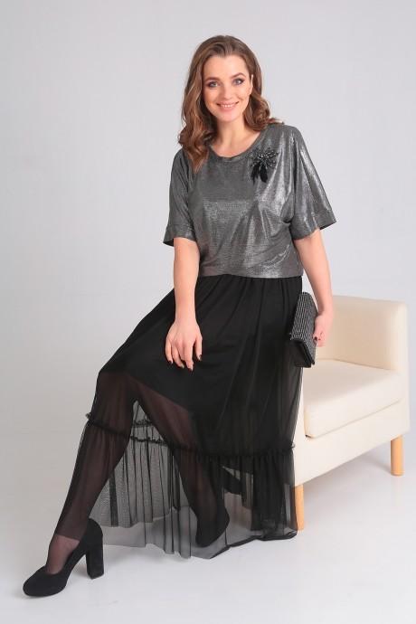 Платье Ладис Лайн 1033 серебристо-черный