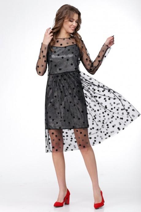 Платье Ладис Лайн 1029 серебристо-черный