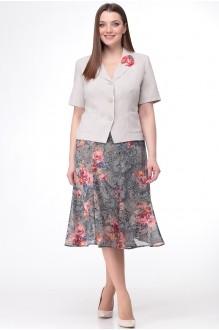 Ладис Лайн 1091 серо-бежевый+серая юбка