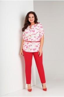 Милора Стиль 389 цветочный принт+красные брюки