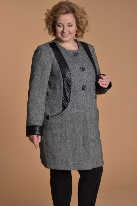 Куртка, пальто, плащ Люана Плюс 382.1 черно-белый