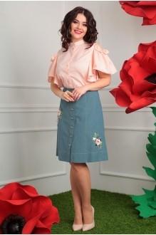 Мода-Юрс 2408 розовый + зеленая юбка_аппликация цветы