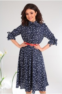 Платье Мода-Юрс 2481 тёмно-синий + горох фото 2