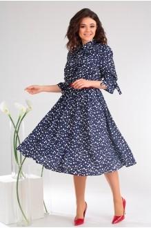 Платье Мода-Юрс 2481 тёмно-синий + горох фото 3