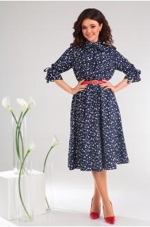 Платье Мода-Юрс 2481 тёмно-синий + горох фото 4