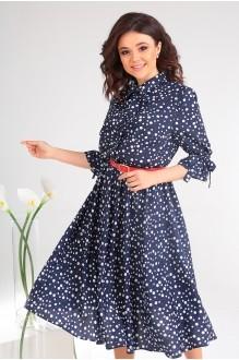 Платье Мода-Юрс 2481 тёмно-синий + горох фото 5