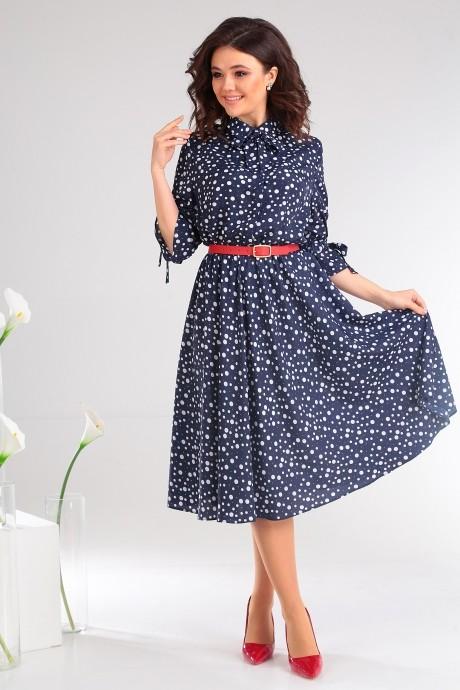 Платье Мода-Юрс 2481 тёмно-синий + горох