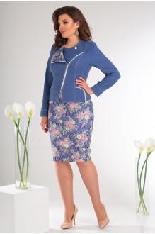 Мода-Юрс 2091 синий + розовые цветы