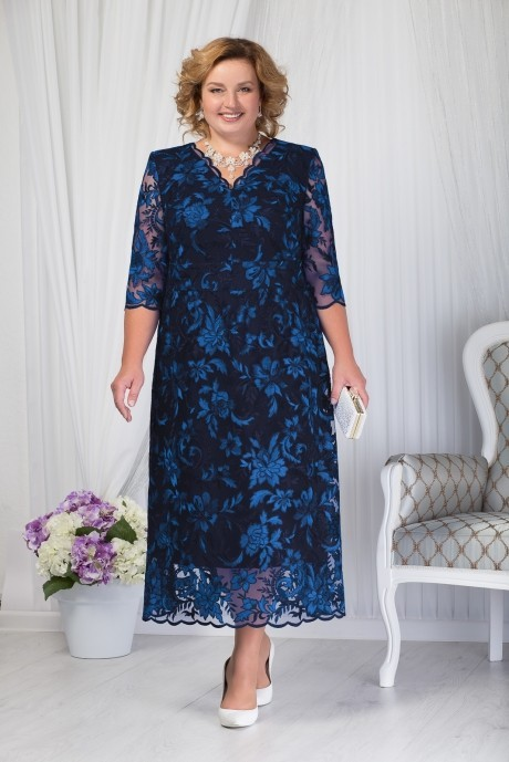 Платье Нинель Шик 7203 темно-синий