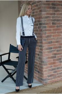 Azzara 592 рубашка белого цвета/брюки в серо-синюю полоску