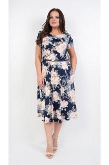 TricoTex Style 14-19  на синем фоне пудровые цветы