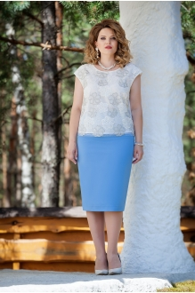 TEZA 225 белая блуза/голубая юбка