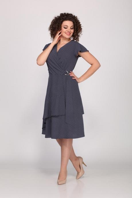 Платье Angelina Design Studio 449 синий / мельче горох