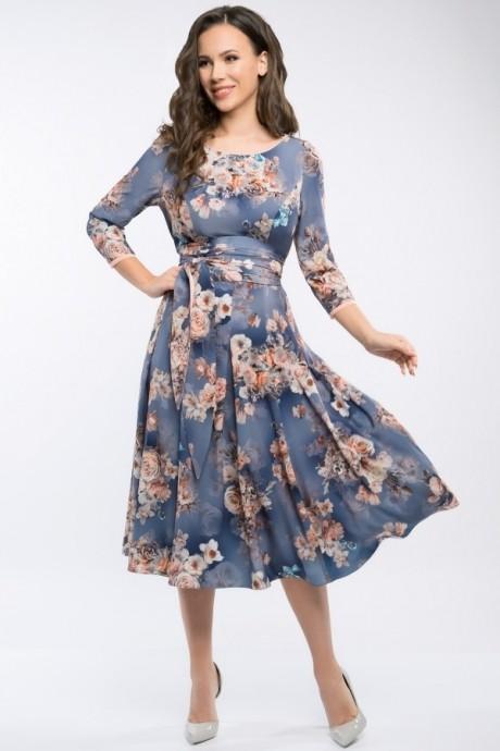 Платье Teffi Style 1217 цветы на графите