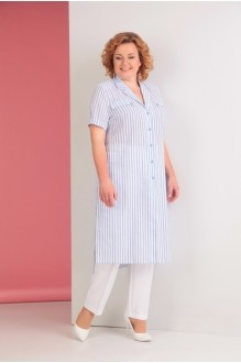 Ksenia Stylе 1530 голубая полоска/белые брюки